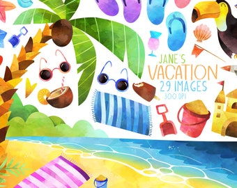Watercolor Tropical Vacation Clipart - Beach Clipart - Instant Download - Watercolor Family Trip - Palm Tree Clipart - Toucan - Summer
