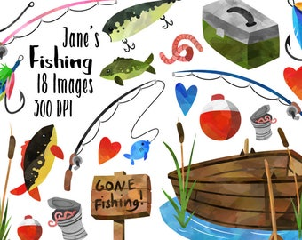 Watercolor Fishing Clipart - Fishing Items Download - Instant Download - Watercolor Fishing Supplies - Lures - Rods - Boat