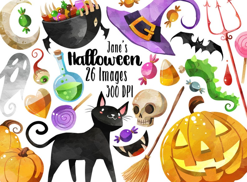 Watercolor Halloween Clipart  Halloween Items Download  image 0