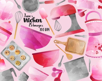 Watercolor Cooking Clipart - Baking Supplies Download - Instant Download - Watercolor Cooking items, Apron, Mixer, Spatulas, and more!