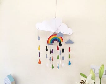 Rainbow Baby Mobile Felt Cot Mobile Baby Mobile Hanging Raindrop Mobile Nursery Decor Gender Neutral Rainbow Mobile Crib Mobile Colorful