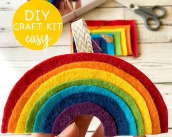 Rainbow Sewing Kit, Felt Decoration, DIY Craft Kits for Kids, Christmas Gift Ideas, Nursery Decor