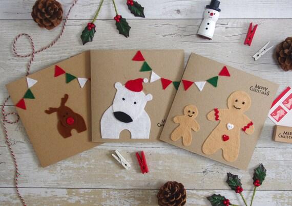 3 Weihnachtskarten Pack personalisierte handgemachte Karten | Etsy