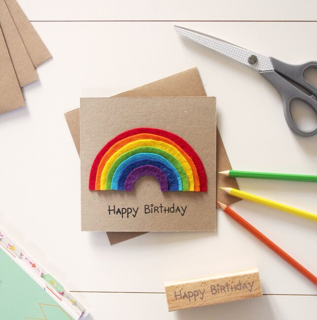 Rainbow Birthday Card Greeting Cards Handmade Babys First Etsy