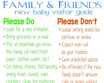 New Baby Family & Friends Visitor Guide