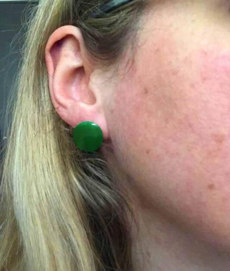 Green Screw Back Earrings