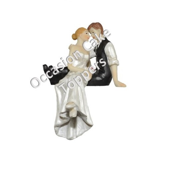 Wedding Cake Topper Bride And Groom Sitting On Cake Etsy