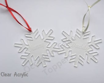 Personalised Name Christmas Tree Decoration - Any Name - Snowflake Shape