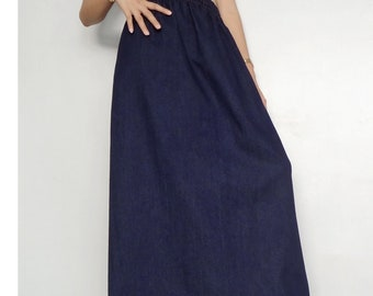 8b08af744d1 Maxi Long Skirt Comfortable Unique Casual Jeans Medium weight Dark Blue Denim  Cotton (Skirt-1FA).