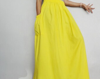 a888eac7ac964 SALE Women Maxi Long Skirt Casual Gypsy Bohemian Canary Yellow in Cotton  Blend (Skirt *M29).