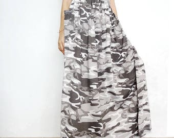 ee6d9bee7899e SALE Camouflage Maxi Long Skirt Casual Gypsy Bohemian Gray Cotton Blend ( Skirt *M18).