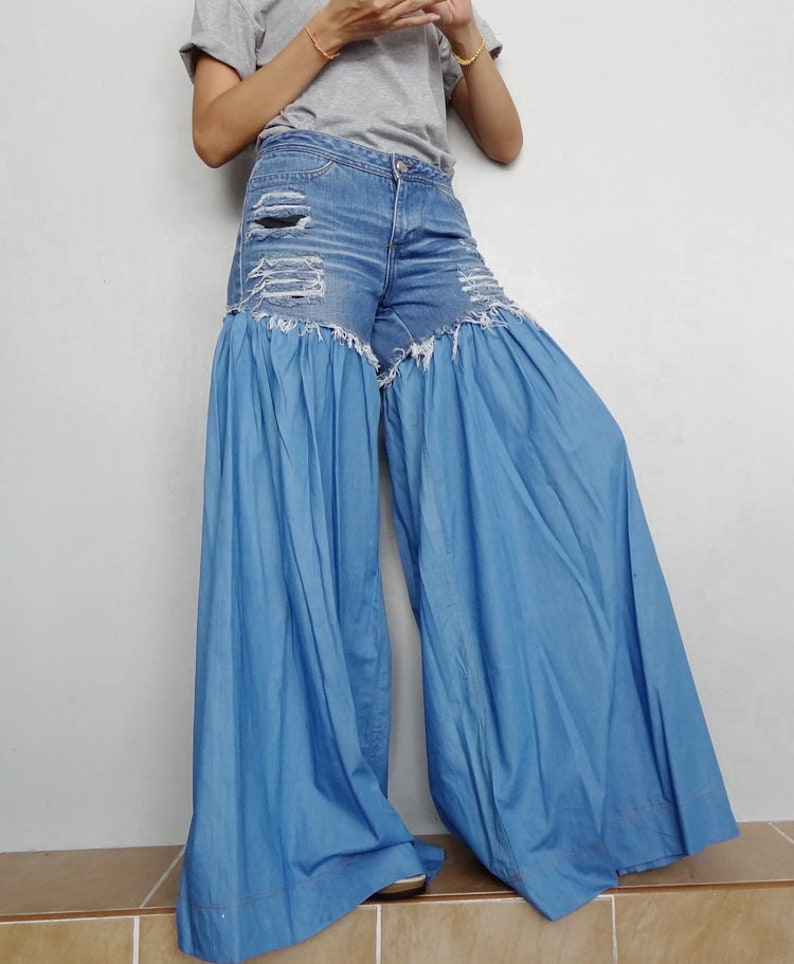 ce521a70405 SALE Wide Legs Jeans Frayed Distressed JeansUnique Bell   Etsy