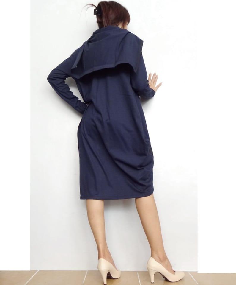 JN02 Tunic Long Sleeve Navy Blue Asymmetrical Unisex Jacket