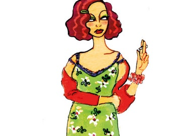 Woman with green dress
