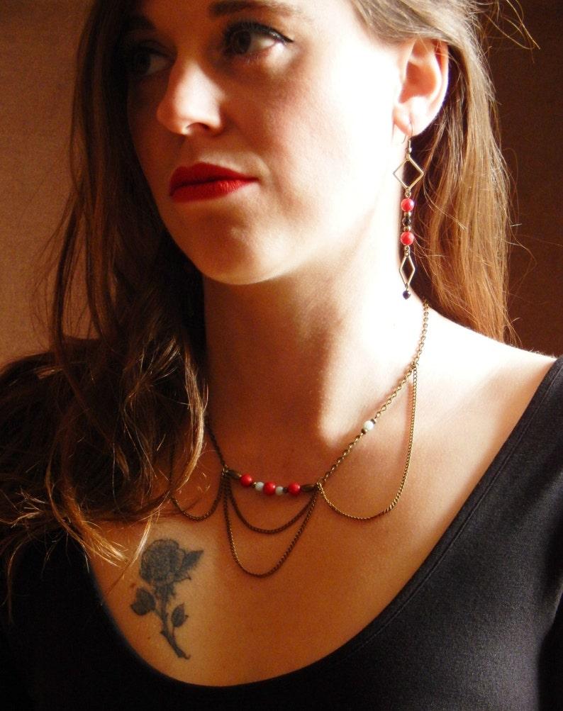 Ras neck collar Apache coral semi-precious stones and amazonite by Madame Arlette