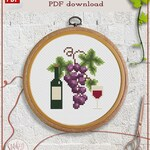 Red wine cross stitch pattern | Grape cross stitch chart | Kitchen cross stitch | Easy cross stitch PDF