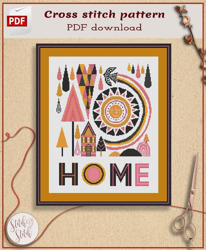 Home cross stitch pattern Home sweet home cross stitch image 0