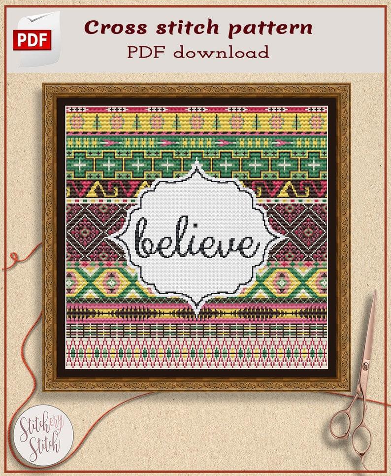 Modern folk cross stitch pattern by Stitchery Stitch image 0