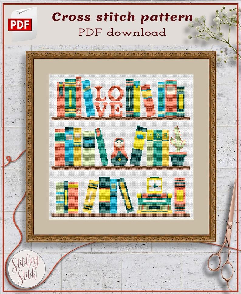 Books cross stitch pattern PDF image 0