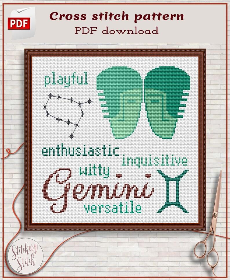 Gemini cross stitch pattern by Stitchery Stitch  4 palettes image 0