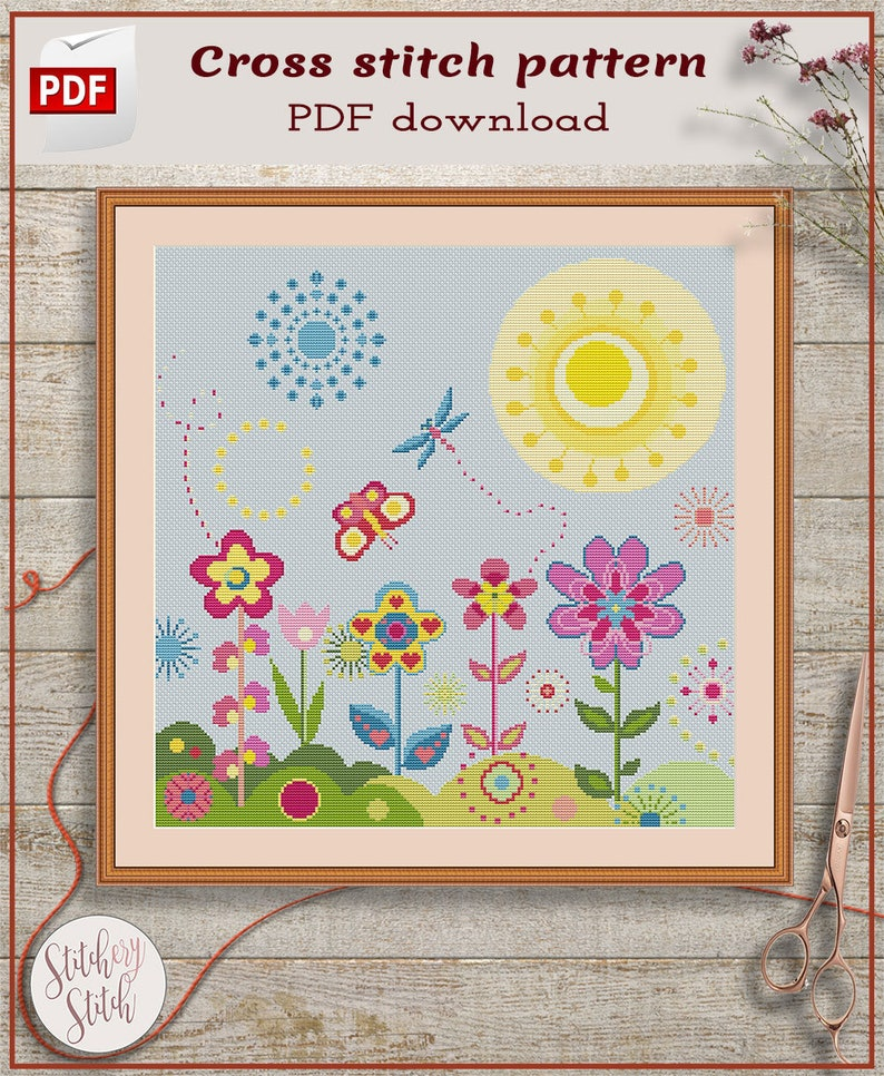 Floral cross stitch pattern  Flowers cross stitch chart  image 0