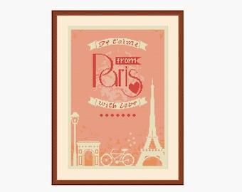 Paris cross stitch, France cross stitch, Eiffel tower, Je t'aime, Love Paris, Counted cross stitch, Cross stitch sayings, Instant download