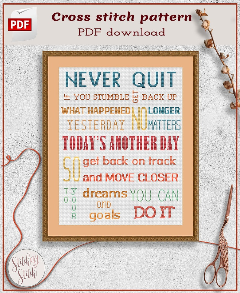 Inspirational cross stitch pattern  Motivational cross stitch image 0