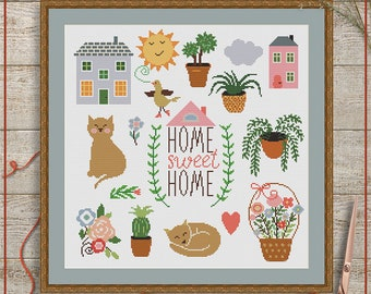 Home sweet home cross stitch pattern, Home cross stitch, Sweet home cross stitch, Home sweet home Xstitch, Home Xstitch pattern, Xstitch PDF
