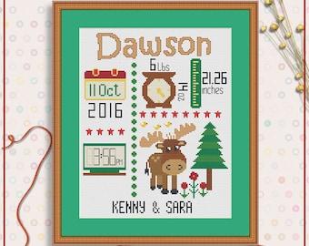 Newborn cross stitch pattern | Birth Template cross stitch chart | Newborn announcement cross stitch project | Custom cross stitch PDF