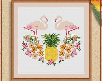 Pineapple and Flamingos cross stitch pattern PDF by Stitchery Stitch