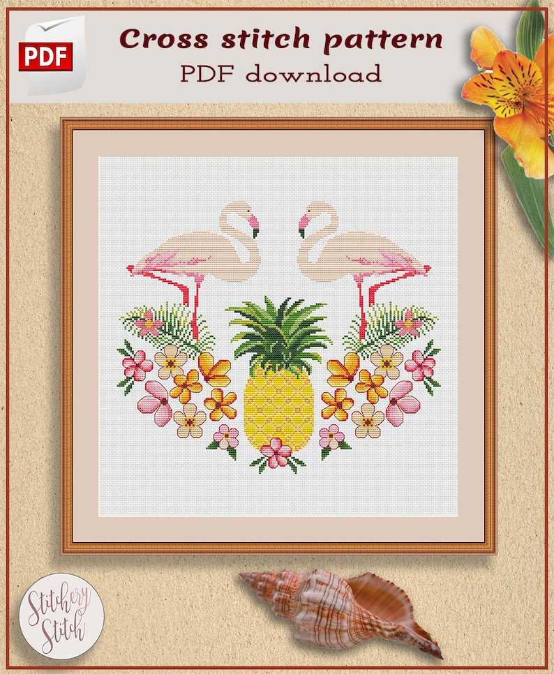 Pineapple and Flamingos cross stitch pattern PDF by Stitchery image 0