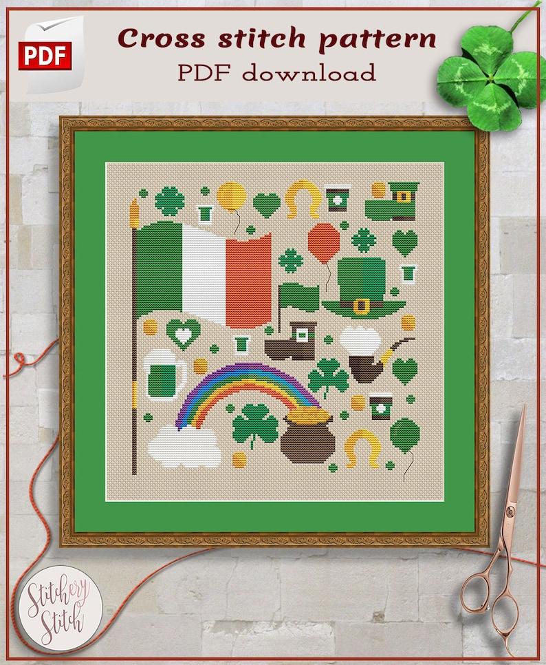 Irish cross stitch pattern  Ireland cross stitch chart  St image 0
