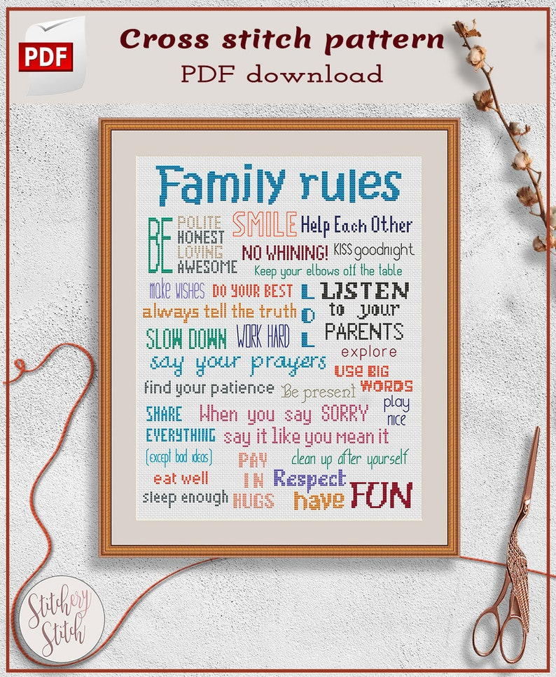 Family rules cross stitch project Family sayings cross stitch image 0