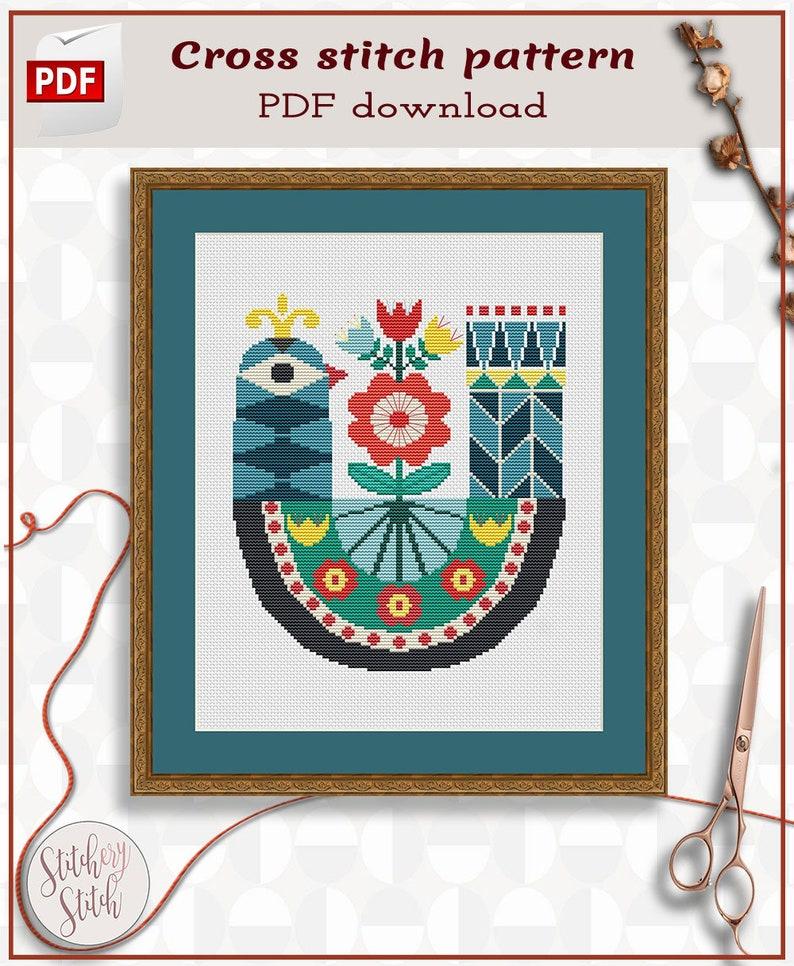 Bird cross stitch pattern  Folk art cross stitch  image 0