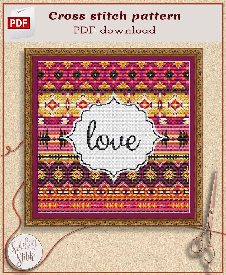 Geometric cross stitch pattern Choose words image 0