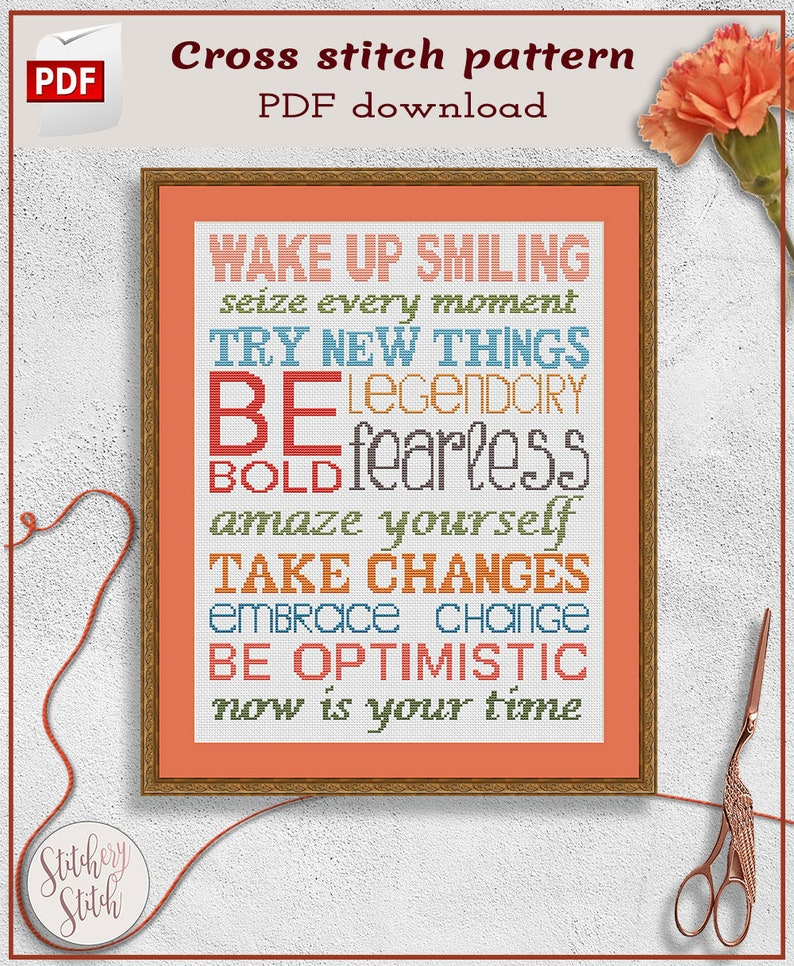 Smile cross stitch pattern  Inspirational cross stitch chart image 0
