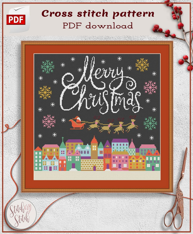 Festive cross stitch pattern Xmas cross stitch pattern image 0