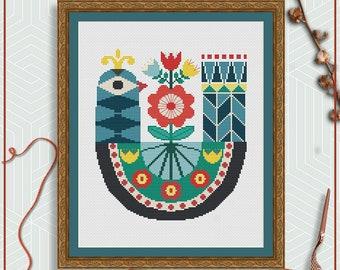 Bird cross stitch pattern | Folk art cross stitch | Scandinavian cross stitch PDF