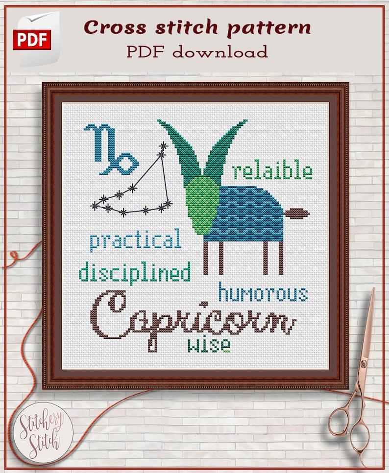 Capricorn cross stitch pattern by Stitchery Stitch image 0