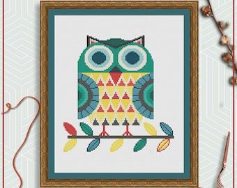 Owl cross stitch pattern | Folk art cross stitch | Scandinavian cross stitch project