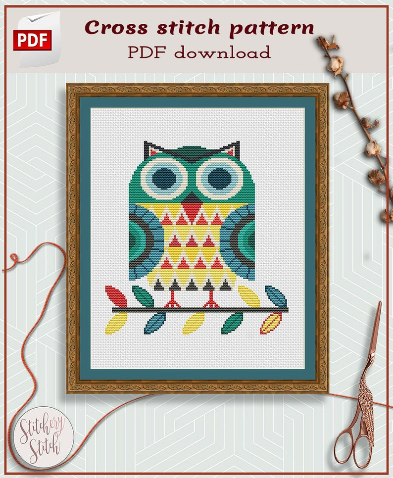 Owl cross stitch pattern  Folk art cross stitch  image 0