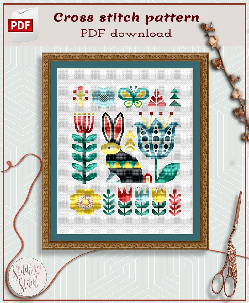 Folk art rabbit cross stitch PDF image 0