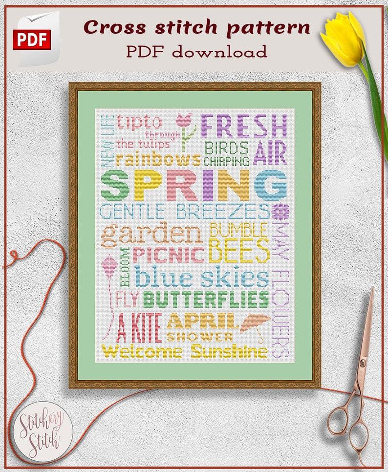 Spring cross stitch pattern  Seasons cross stitch chart  image 0