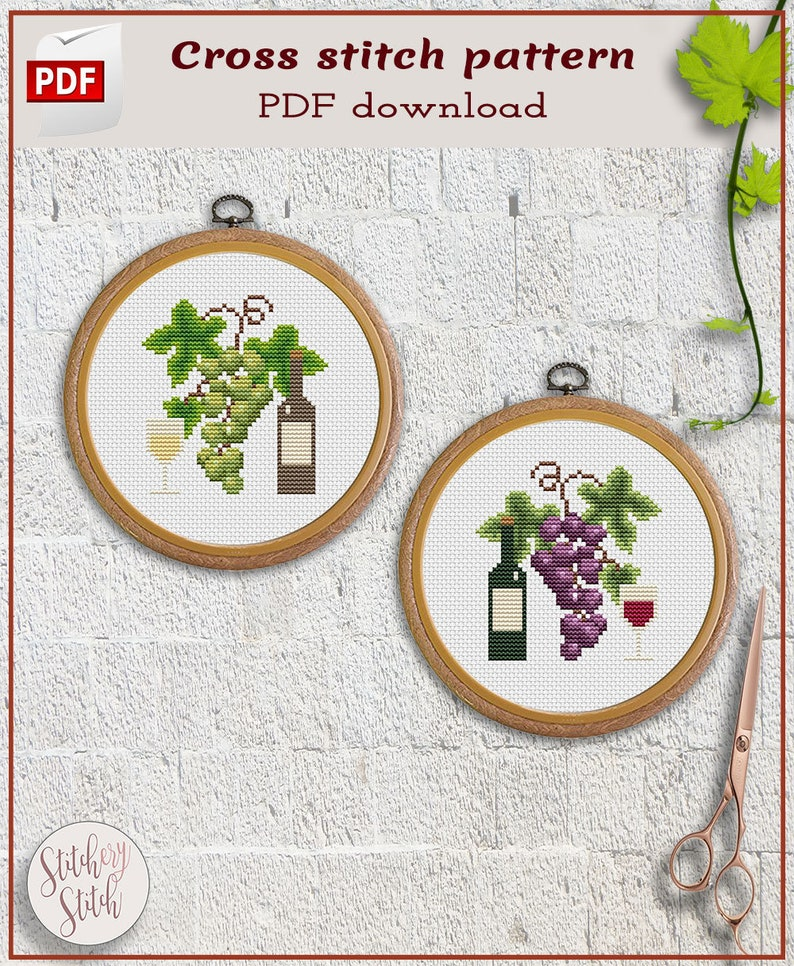 Cross stitch patterns bundle   Wine cross stitch chart  Red image 0