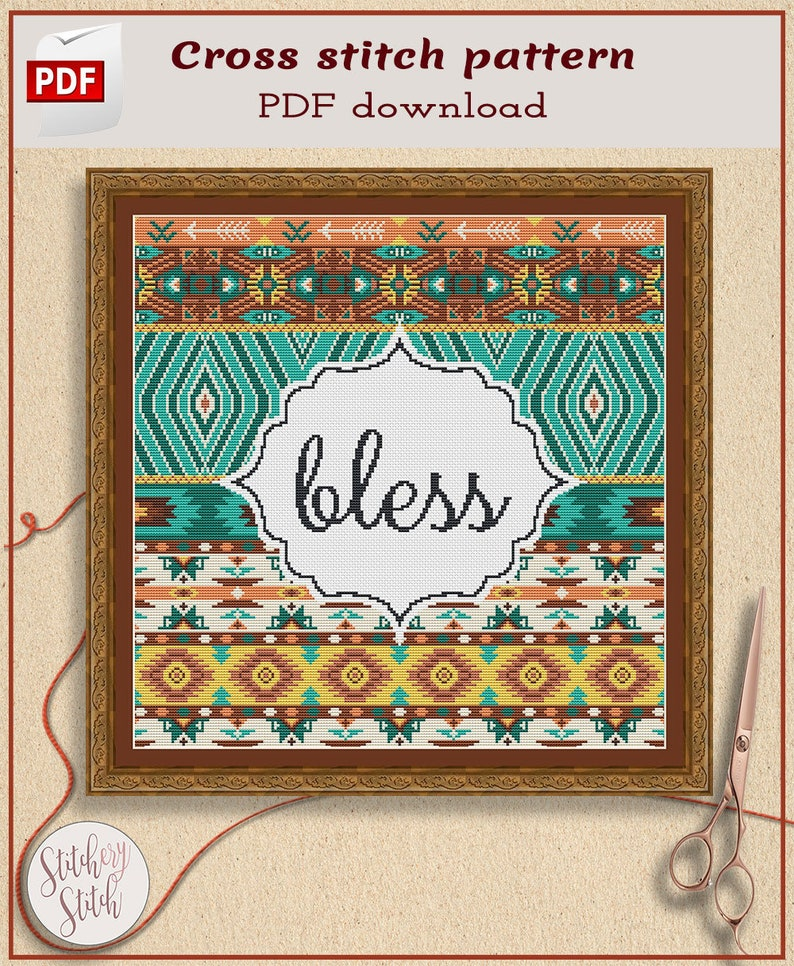 Modern geometric cross stitch pattern image 0