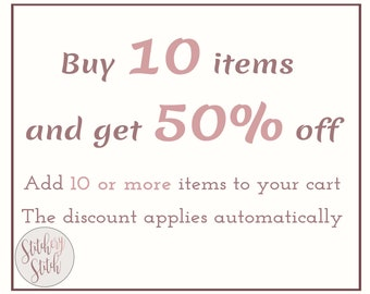 DISCOUNT COUPON: Buy 10 cross stitch patterns and save 50% from your purchase from Stitchery Stitch