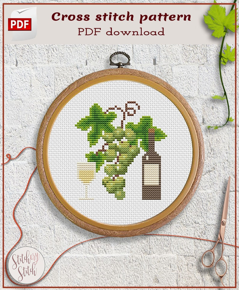 Wine cross stitch pattern by Stitchery Stitch image 0