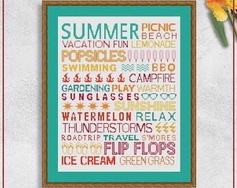 Summer cross stitch pattern | Summer time cross stitch chart | Seasons cross stitch design | Printable cross stitch pattern PDF