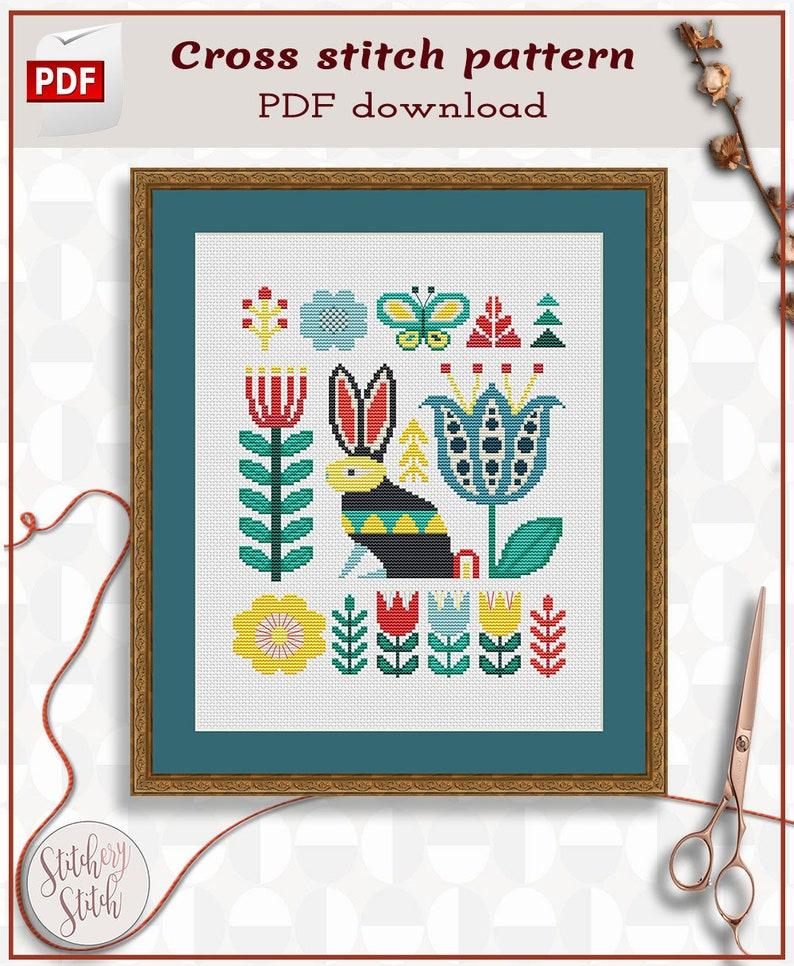 Folk art rabbit cross stitch PDF image 0