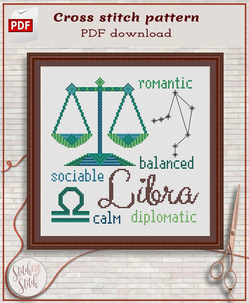 Libra cross stitch pattern by Stitchery Stitch image 0